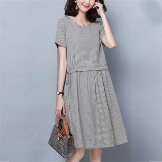 Short-sleeve Drawcord Waist A-line Dress