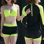 Set: Bikini Top + Swim Shorts + Rashguard