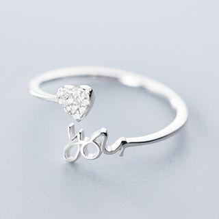 Rhinestone Heart Open Ring Silver - One Size