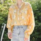 Floral Print Blouse Floral - Yellow - One Size