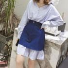 Inset H-line Skirt Striped Shirtdress