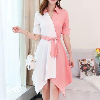 Short-sleeve Asymmetric Shirtdress