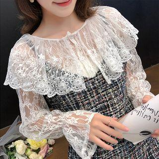 Collared Bell-sleeve Lace Top White - One Size