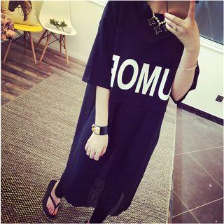 Lettering Elbow-sleeve Long T-shirt