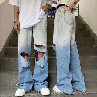 Gradient Ripped Wide Leg Jeans