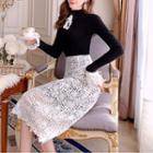 Mock-turtleneck Lace Trim Knit Top Black - One Size