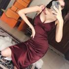 Plain Strappy Midi Sheath Dress