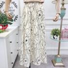 Midi A-line Printed Skirt