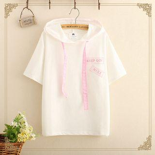 Drawstring Hooded Short-sleeve T-shirt