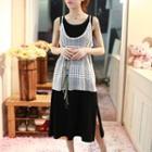 Set: Plain Tank Dress + Lace Camisole Top