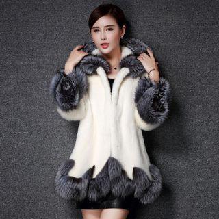 Contrast Trim Hooded Faux Fur Coat
