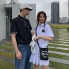 Couple Matching Short-sleeve Contrast Trim Polo Shirt / Polo Dress