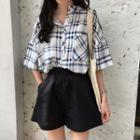 Short-sleeve Plaid Shirt / Elastic Waist Shorts