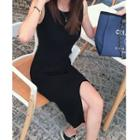 Sleeveless Knit Sheath Slit Dress