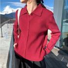 Plain Long-sleeve Knit Polo-shirt