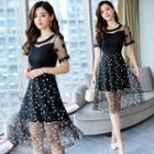 Short-sleeve Floral Applique Mesh Overlay A-line Dress