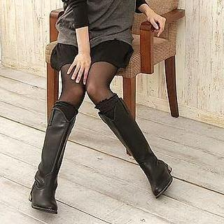 Faux-leather Long Boots