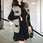 Knit Cardigan / Long-sleeve Plain Top + High-waist Pleated Skirt