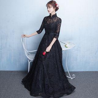 Elbow-sleeve Lace A-line Evening Gown / Mini Prom Dress / Midi Prom Dress