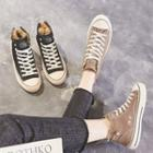 Genuine Leather Lace-up High-top Sneakers