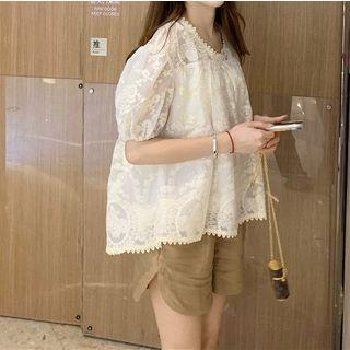Embroidered Lace Top / High-waist Shorts
