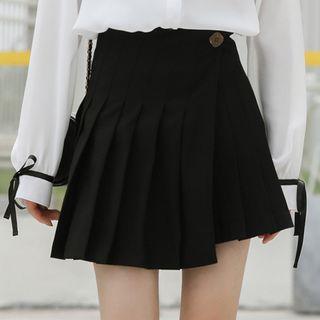 Asymmetric Hem Pleated Skirt