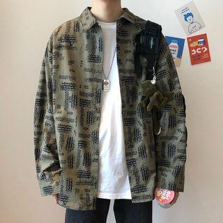 Abstract Print Shirt Jacket
