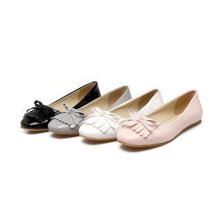 Faux-leather Fringed Flats