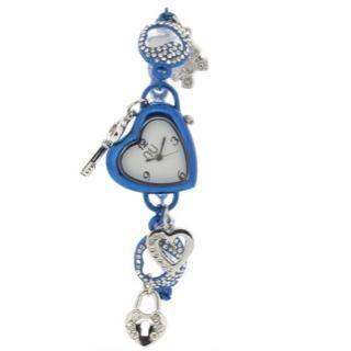 Heart-shaped Charm Wrist Watch Blue - One Size
