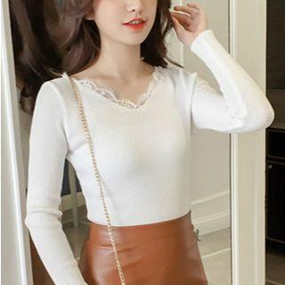 Lace-neck Knit Top