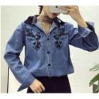 Contrast Collar Floral Embroidered Denim Shirt