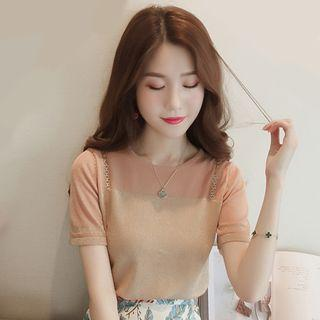 Mock Two-piece Short-sleeve Chained Top