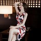 Sleeveless Geometric Sheath Dress