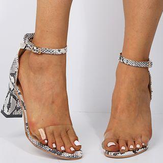 Snakeskin Print Chunky Heel Sandals