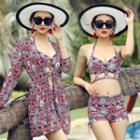 Set: Printed Bikini Top + High-waist Swim Shorts + Cover-up