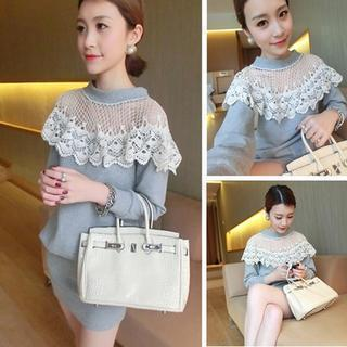 Long-sleeve Crochet Panel Dress