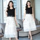 Mock Two-piece Midi A-line Chiffon Dress