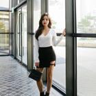 Cutout-hem Faux-suede Mini Pencil Skirt