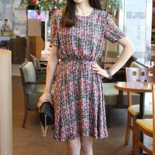 Patterned Chiffon Dress