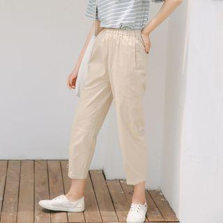 High Rise Cropped Pants Light Khaki - One Size