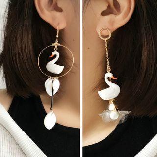 Flower Drop Swan Earrings