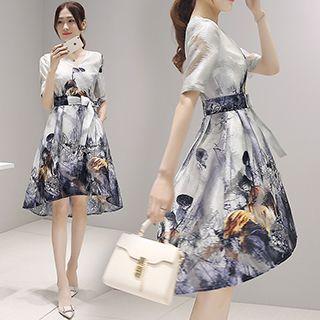 V-neck Floral Print Short-sleeve Dress