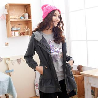 Hooded Long Sleeve Zip-up Jacket