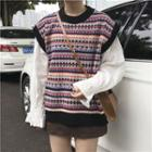 Striped Knit Vest Knit Vest - One Size