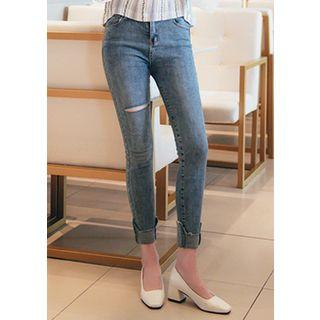 Cuff-hem Distressed Washed Skinny Jeans