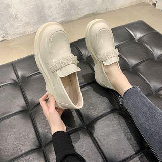 Platform Block Heel Beaded Loafers