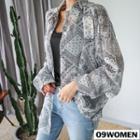 Plus Size - Scarf-pattern Chiffon Blouse