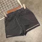 Striped Elastic-waist Shorts
