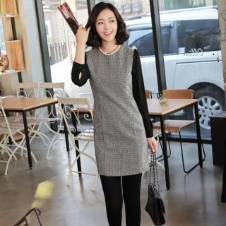 Long-sleeve Check Dress