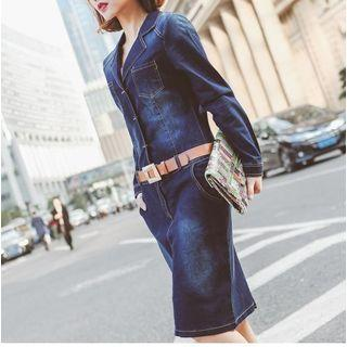Long Sleeve Washed Denim Dress